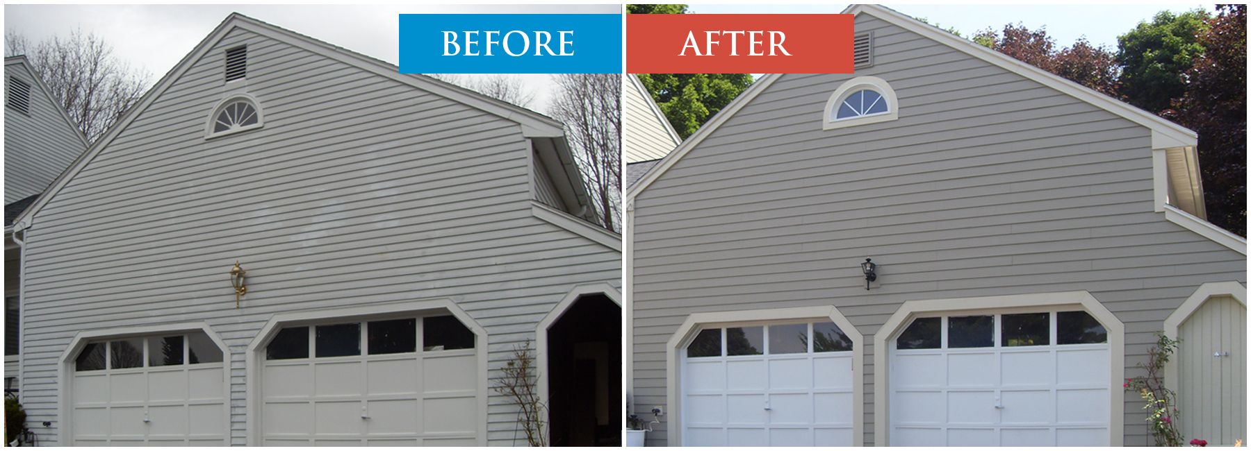Fiber Cement Siding Before and After Image Comparison. Boston MA