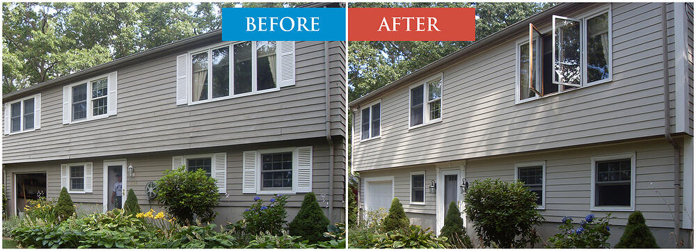 Hardiboard Siding Replacement. Before and After. Boston, MA