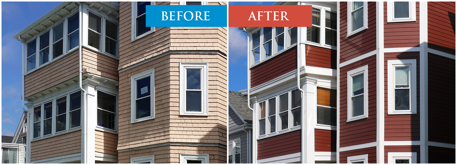 Fiber Cement Siding Before and After Image. Boston MA