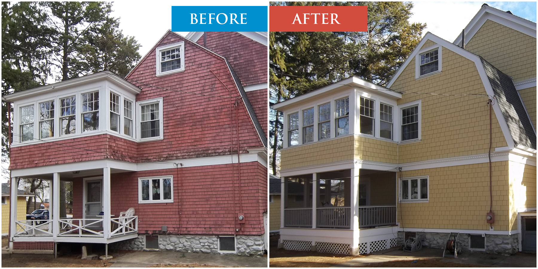 Fiber Cement Siding Boston MA. Before and After Sample