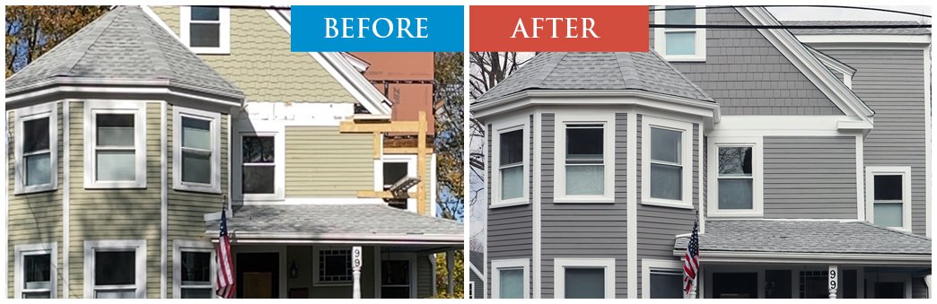 before after siding replacement. click to zoom in.