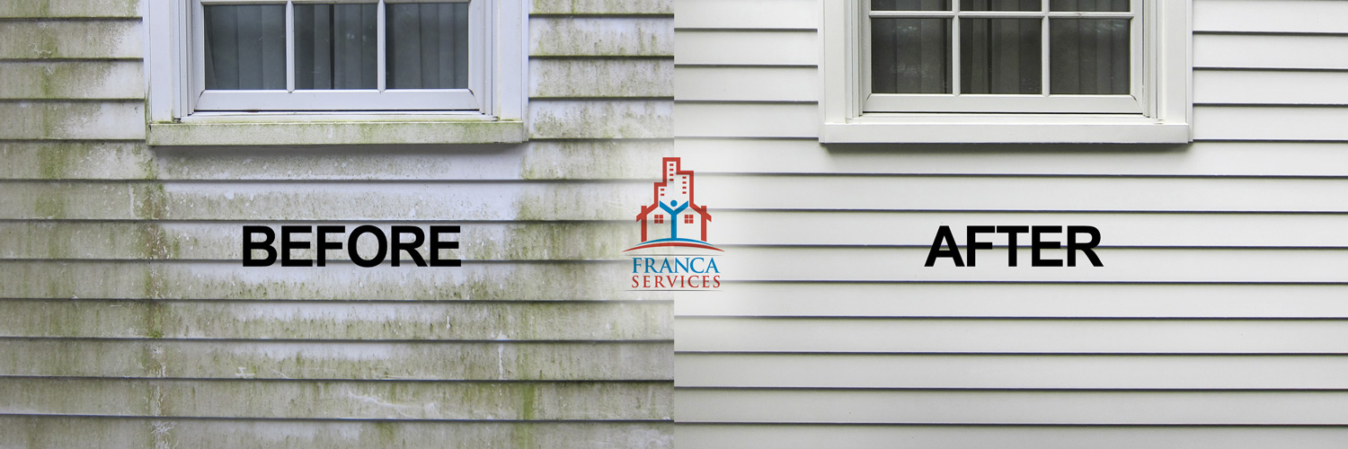 Before & After Pressure Washing Vinyl Siding to Take Care of Mold Issues