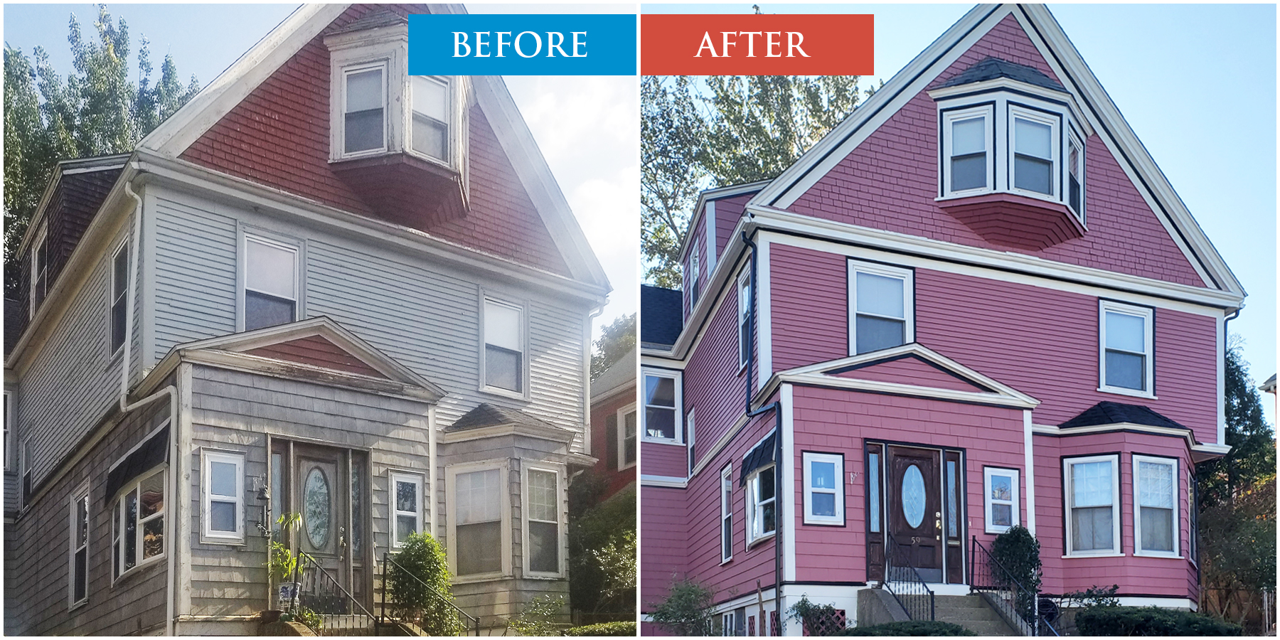 House Painting. Before and After. Boston, MA