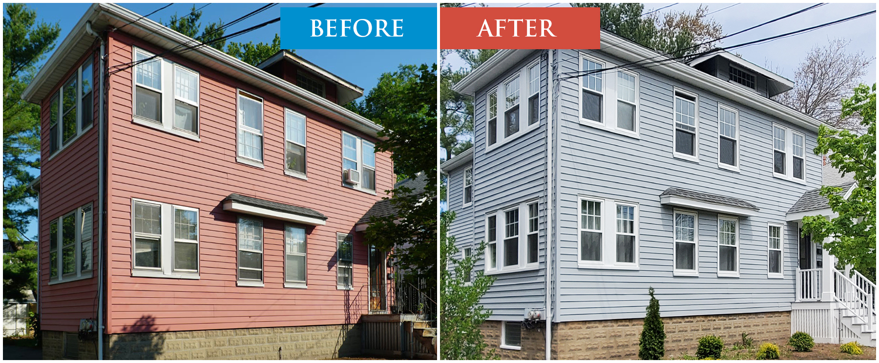 House Painting, Color Change. Updated Paint, Before & After Paint Job. Marlborough, MA.