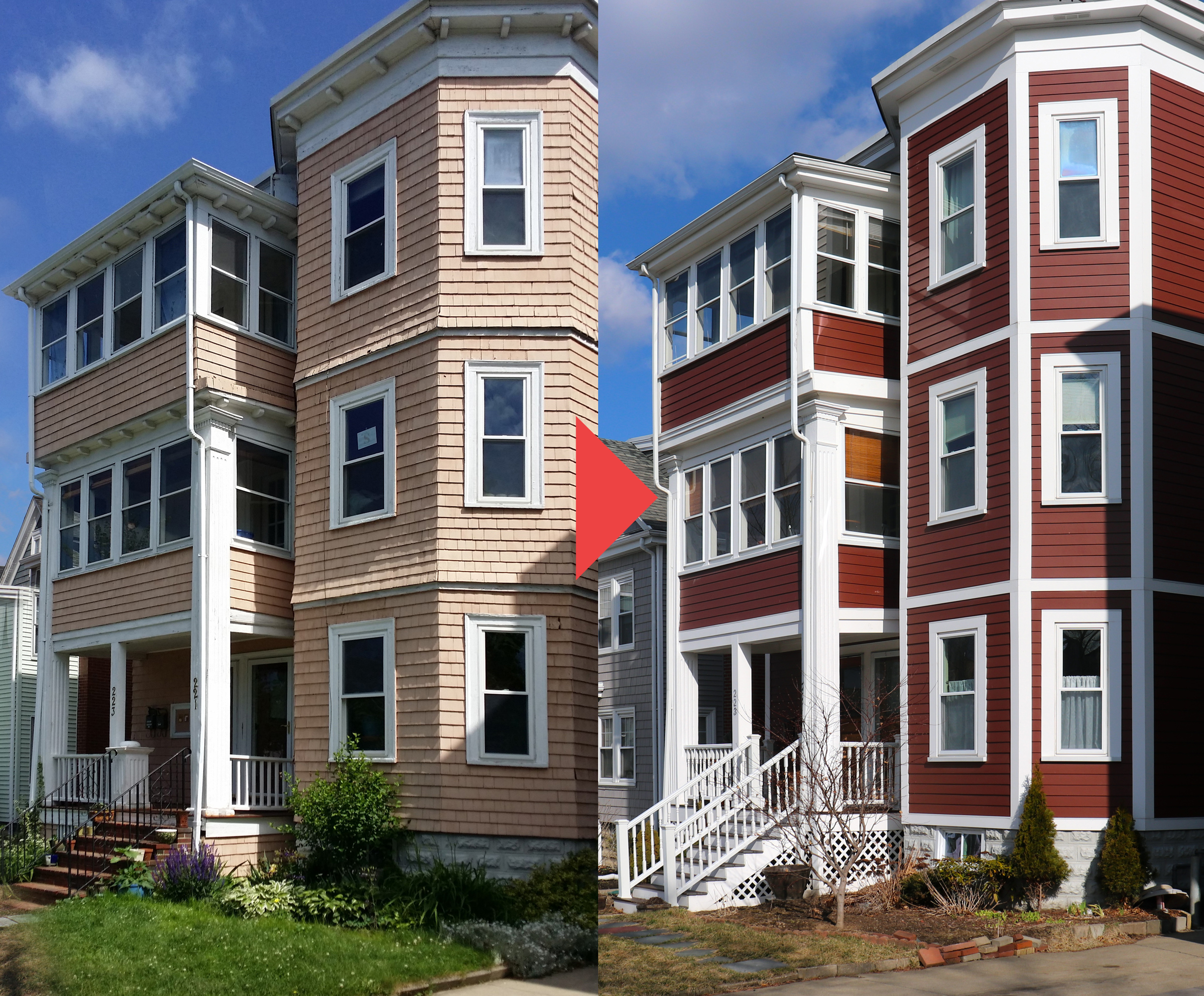 Fiber Cement Siding. Before And After. Residential Siding company